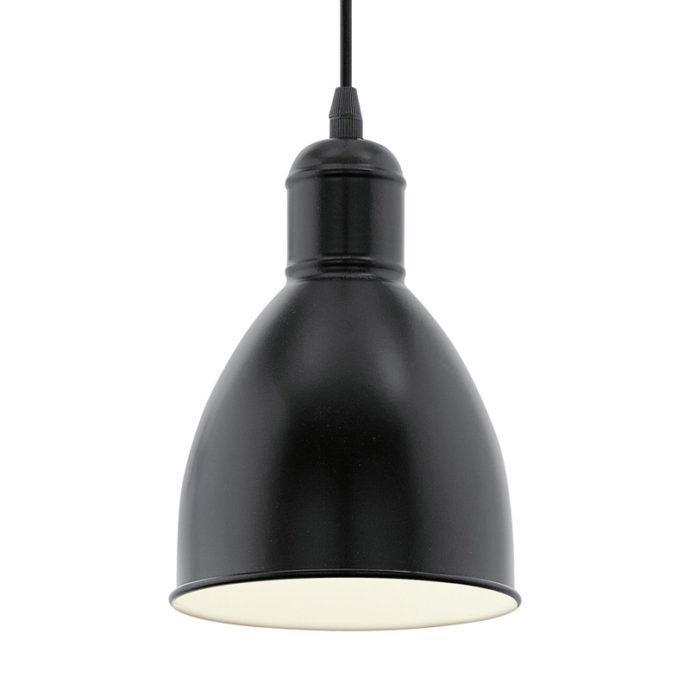 Eglo 49464 PRIDDY Hanglamp Zwart Wit 1X60W/E27