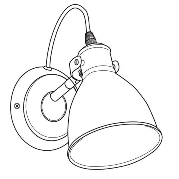 Eglo 49468 PRIDDY Wand-en plafondlamp Zwart Wit 1X40W/E27