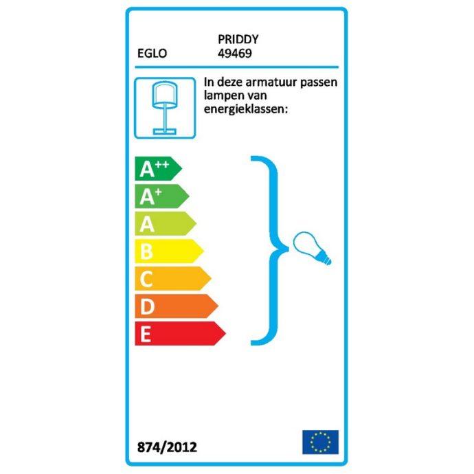 Eglo 49469 PRIDDY Tafellamp Zwart Wit 1X40W/E27