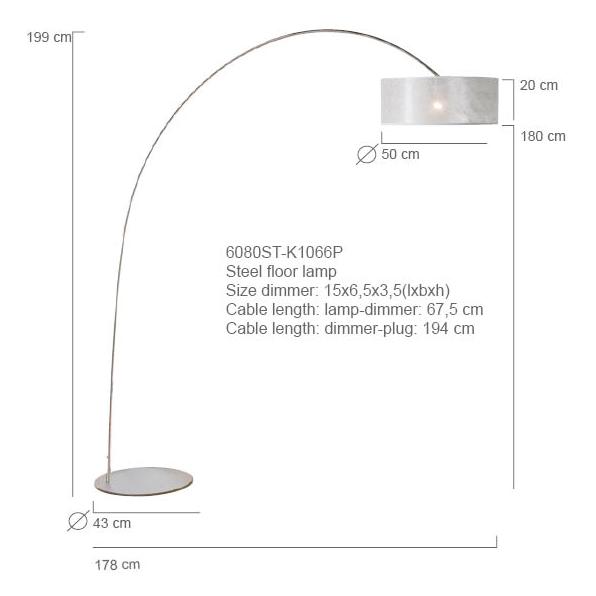 Steinhauer Vloerlamp / booglamp Stresa 9617 staal kap sizoflor zilver