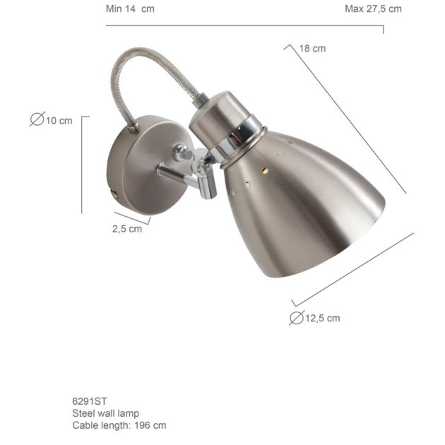 Steinhauer Wandlamp Spring 6291 staal