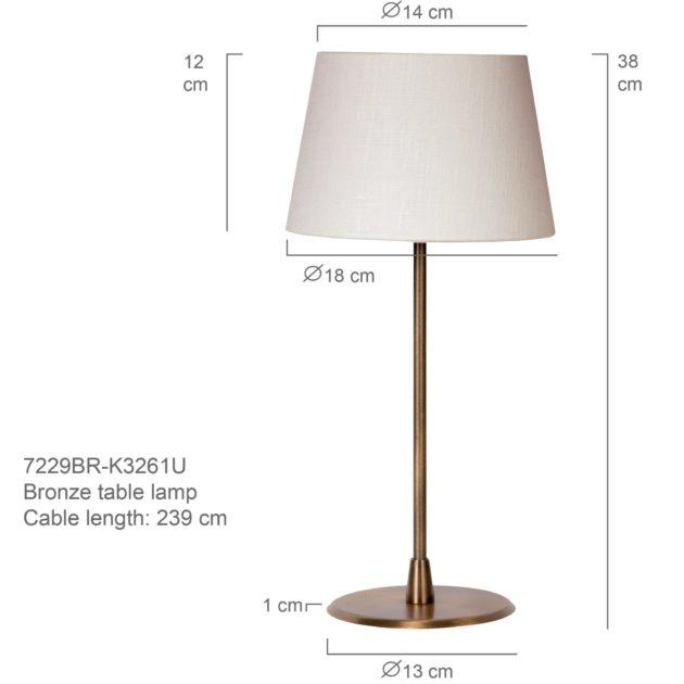 Steinhauer Tafellamp Gramineus 7229 brons kap pliss' wit