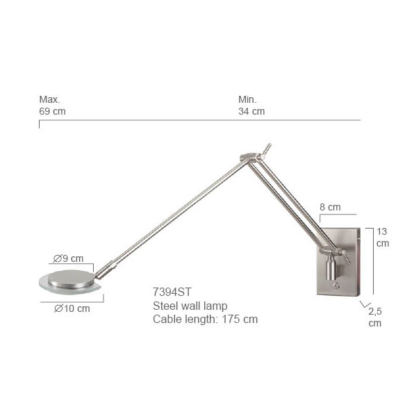 Steinhauer Wandlamp Whisper LED 7394 staal