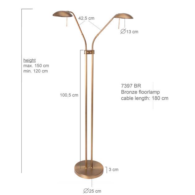 Steinhauer Vloerlamp Tamara LED 7398BR brons 2-lichts