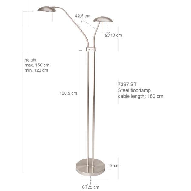 Steinhauer Vloerlamp Tamara LED 7398ST staal 2-lichts
