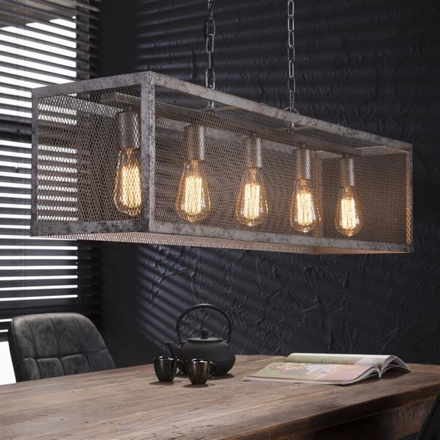Genoeg Hanglamp Rechthoek Raster 5xE27 Oud zilver - Breman Verlichting WX26