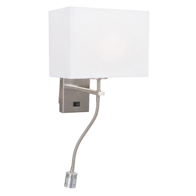 Steinhauer Wandlamp 2-lichts met effen witte kap Louis 9742ST