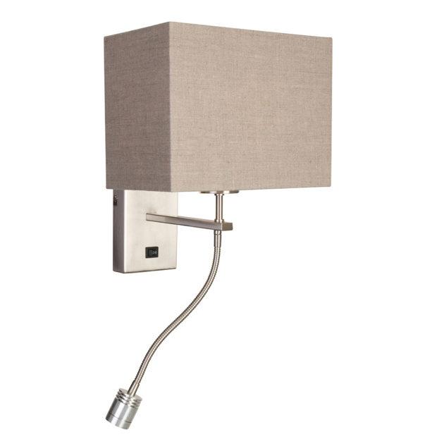 Steinhauer Wandlamp 2-lichts met grijze linnen kap Louis 9744ST