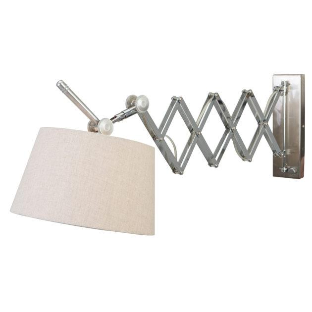 Steinhauer Wandlamp 1-lichts met grijze linnen kap Fontainebleau 9772ST