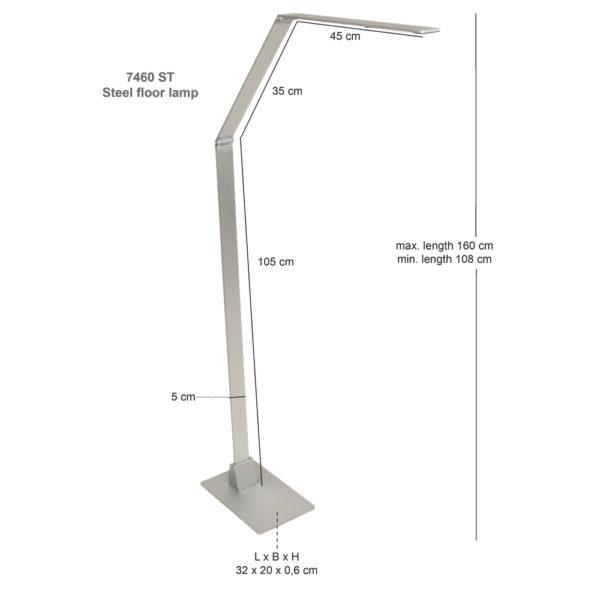 Steinhauer Vloerlamp Serenade LED 7460ST staal