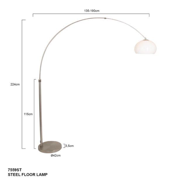 Steinhauer Booglamp Lilac 9822 staal kap plexiglas 32cm