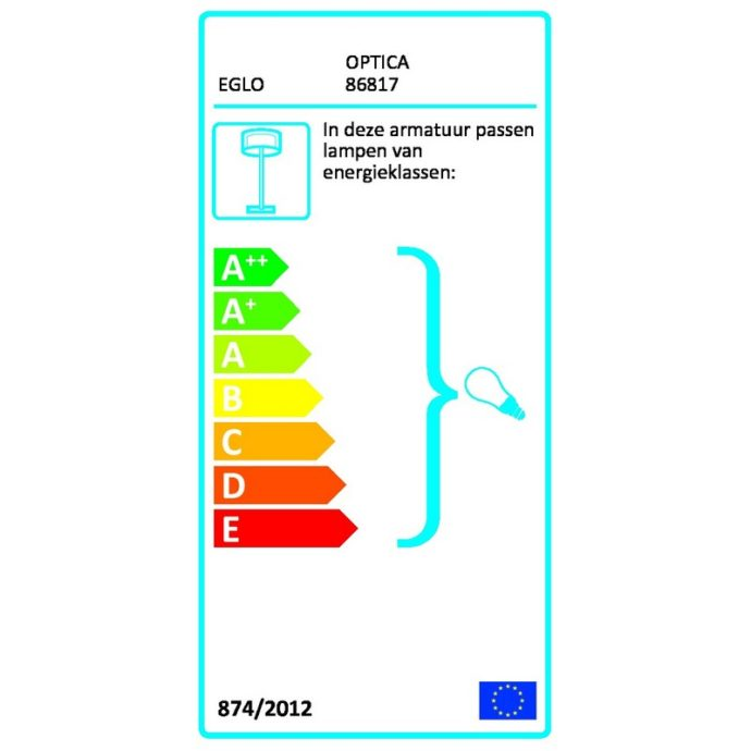 Eglo 86815 OPTICA Hanglamp Staal/opaal-mat glas 2X60W/E27