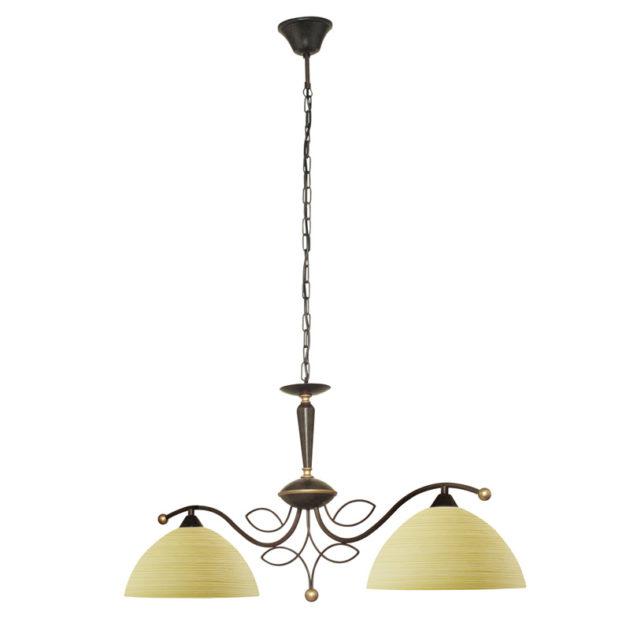 Eglo 89134 BELUGA Hanglamp Antiek-bruin/glas penseeltechniek 2X60W/E27
