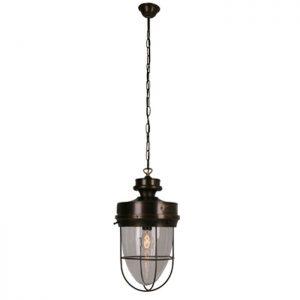 Grote visserslamp brons 24cm