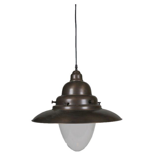 Middelgrote visserslamp brons 37cm