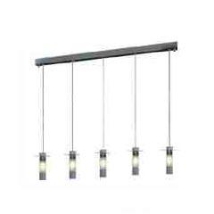 Hanglamp 5 lichts cilinder glas 116cm lang